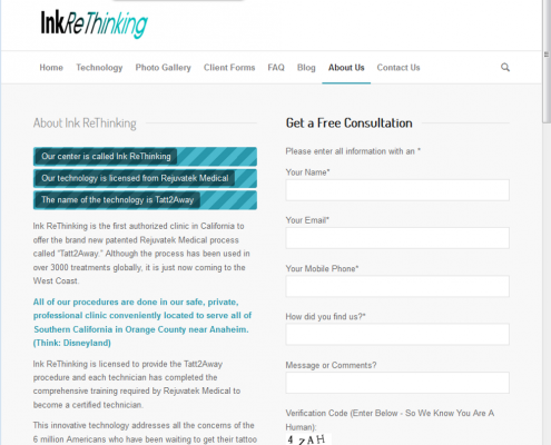 Ink ReThinking - Contact Us Page
